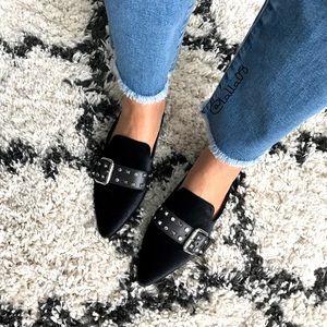 Black velvet pointed toe studded mules
